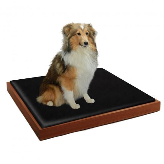 Set of LUNA design dog bed beech walnut stain, 80 x 60 cm plus inlay
