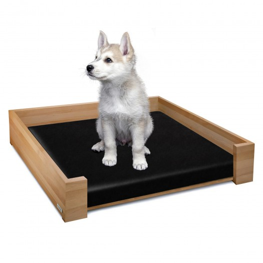 RHEA design dog bed beech naturally oiled, 85 x 65 cm plus inlay