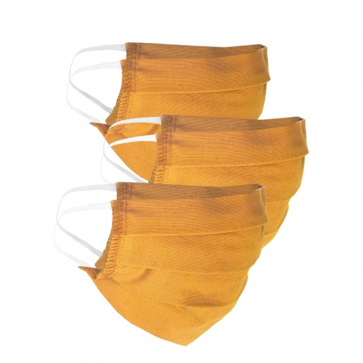 3 pieces of face masks for kids, sunny yellow