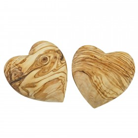 Set 2x deco heart olive wood 10 cm