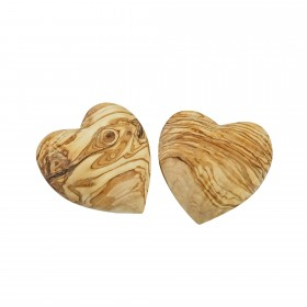 Set 2x deco heart olive wood 5 cm