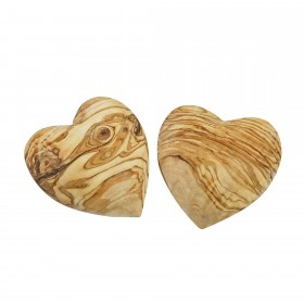 Set 2x deco heart olive wood 7 cm