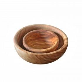 Set of 2 Bowls Olive wood 10 + 16 cm