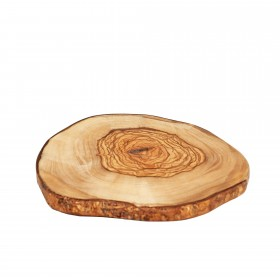 Olive wood slice rustic bark board - Ø 12-17cm