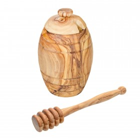 CLASSIC honey pot with honey spoon olive wood