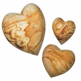 Family-Set of 3 decorative hearts made of olive wood, 5, 7 & 10 cm