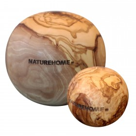 Set of 2 deco-balls olive wood, 5 + 10 cm