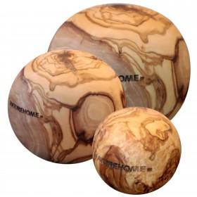Set of 3 deco balls made of olive wood, 5, 7 & 10 cm