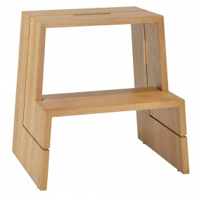 DESIGN step stool oak wood nature oiled with carrying handle, 46 x 38 x 46 cm