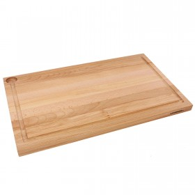 Cutting Board with Juice Rim Beech Wood One-Sided, 58 x 36 cm
