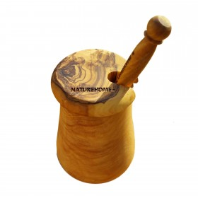 DESIGN honey pot with spoon olive wood
