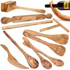 various Kitchen gadgets olive wood