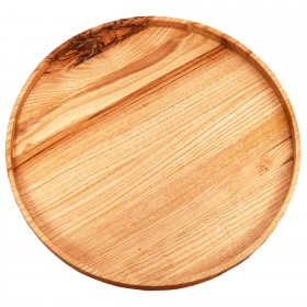 Wooden serving tray round chesnut, 40 cm