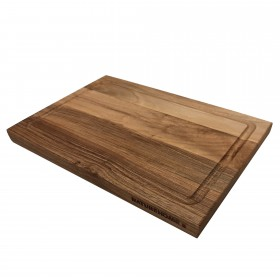 Chopping board with juice groove walnut wood, 30 x 20 x 2 cm