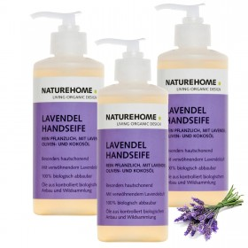 Set of 3 organic hand soap lavender 300ml each