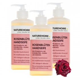 Set of 3 organic hand soap rose petals 300 ml