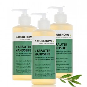 3 x organic hand soap 7 herbs each 300ml