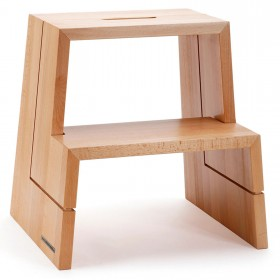 DESIGN step stool beech naturally oiled with carrying handle, 46 x 38 x 46 cm