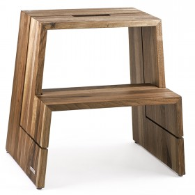DESIGN step stool walnut wood nature oiled with carrying handle, 46 x 38 x 46 cm
