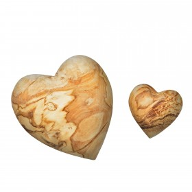 Set of 2 deco hearts olive wood, 5 + 10 cm