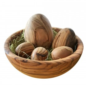 Easter basket complete set made of solid olive wood in different sizes