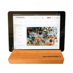 Tablet holder oak wood 19.5 x 12.5 x 2.5 cm