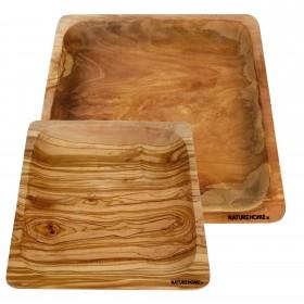 2 plates, square shaped, olive wood 20/26 cm