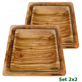 4 pieces Set plates square, 2 small and 2 big  olive wood 20/26 cm