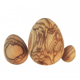Set of 3 olive wood eggs 3, 5 & 7 cm