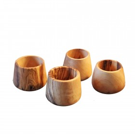 Set of 4 eggcups olive wood