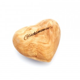 Decorative heart olive wood 10 cm, customizable with engraving