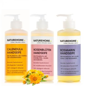 Set of 3 hand soaps: calendula / roseblossom / rosemarine, each 300 ml