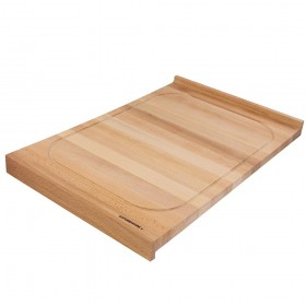 Cutting Board with juice rim and edge bars beech double-sided, 60 x 40 cm