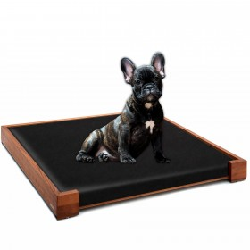 Set of ALPHA design dog bed beech wood walnut oiled, 100 x 80 cm plus inlay