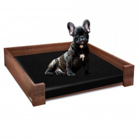 Set of RHEA design dog bed beech wood walnut oiled, 105 x 85 cm plus inlay
