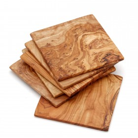 Set of 6 coasters olive wood, 9 cm