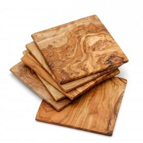 Coaster olive wood 9 cm, div. sets