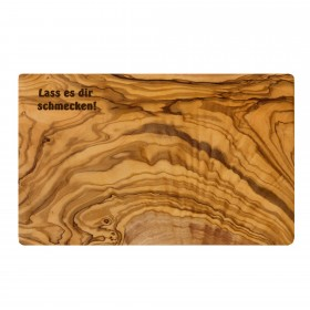 Engraved product: cutting board olive wood 40 x 22 cm with individual engraving