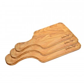 Set of 3 cutting boards with handle olive wood