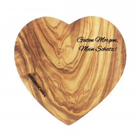 Cutting board heart-shaped olive wood, 17-20 cm customizable