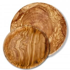 2 plates, round shaped, olive wood 20/26 cm