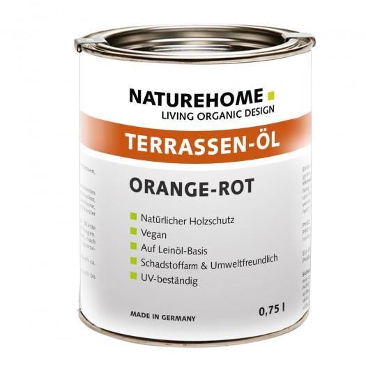 Terrassen-Öl Holzöl für Außenbereich verschiedene Farben 0,75 l Orangerot