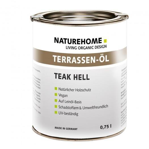 Terrassen-Öl Holzöl für Außenbereich verschiedene Farben 0,75 l Teak hell