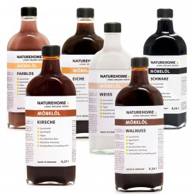 Möbelöl farblos und in Holztönen, 250 ml