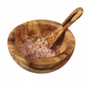 Salzschale ca. 10 cm mit Löffel Olivenholz
