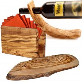 3-tlg. Ambiente-Set Olivenholz: Weinflaschen- und Serviettenhalter plus Baumscheibe oval