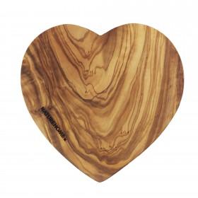 Schneidebrett Herzform Olivenholz, 17-20 cm