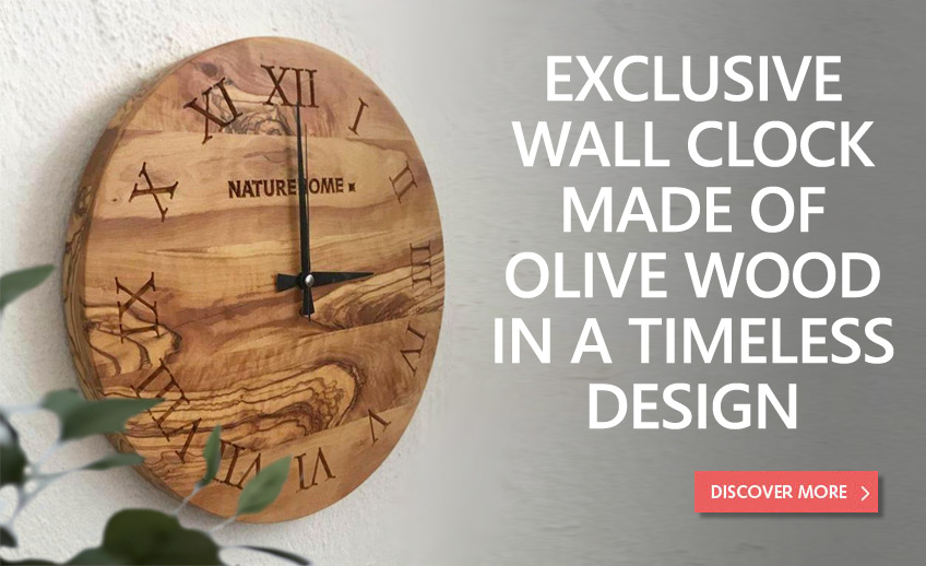 Wall clock made of olive wood