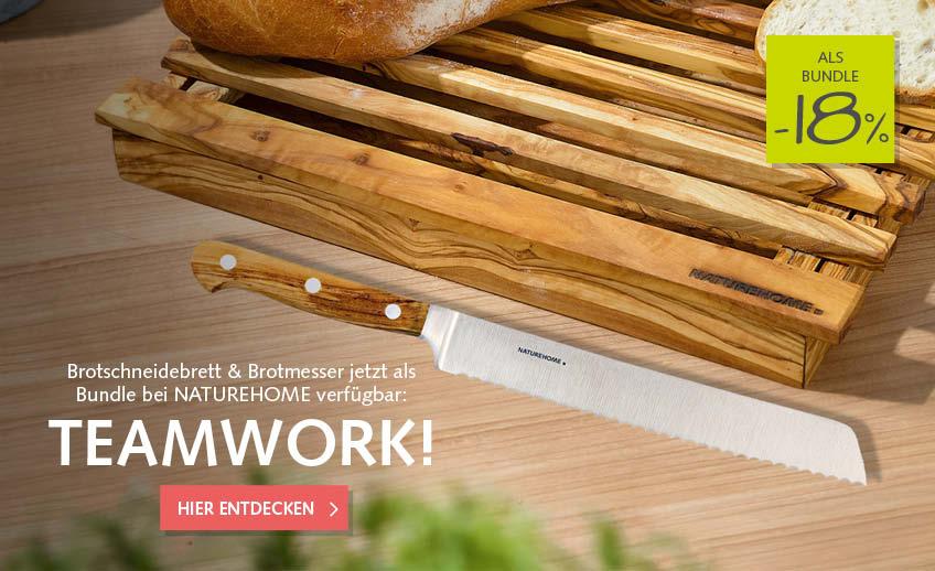 Brotschneidebrett + Messer im Angebot