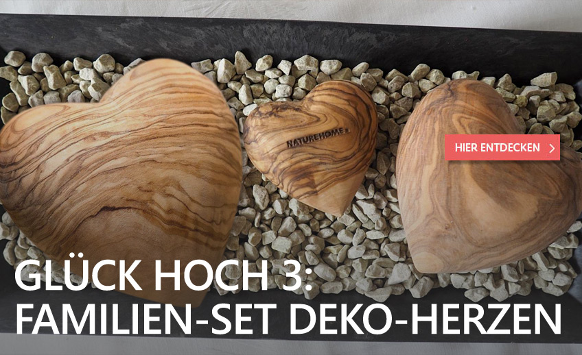3er Family-Set Deko-Herzen